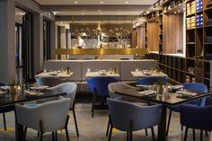 INK Hotel Amsterdam | Hospitality Design. Restaurant Design. Restaurant Furniture. #restaurantdesign #hospitality #restaurantinteriordesign See more inspirations at: https://www.brabbu.com/en/inspiration-and-ideas/category/world-travel/hotel