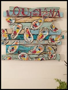 Louisiana Oysters Original Folk art by Dayna Breaud. Visit my FB art page My Colorful Soul :) Painted Suitcase, Louisiana Art, La Art, Funky Junk, Art Pages, Painting On Wood, Coloring Pages, Whimsical, Arts And Crafts