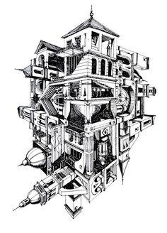 Ilustrações que desafiam a realidade arquitetônica,Aldea Flotante . Image Courtesy of Juan Luis López