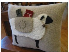 Primitive Wooly Christmas Sheep Carrying Gift by Justplainfolk Christmas Sewing, Christmas Pillow, Christmas Crafts, Primitive Sheep, Primitive Crafts, Wooly Bully, Sheep Crafts, Wool Applique Patterns, Sewing Pillows