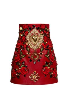Rosso Embellished Leather Mini Skirt by Dolce & Gabbana for Preorder on Moda Operandi