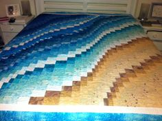 Beach Themed Duvet Cover Sets Beach Themed Quilts Comforters Beach Themed Bedding Uk My Vision Of A Beach Quilt Created For My Ocean Loving Daughter And Son Colchas Quilt, Bargello Quilt Patterns, Bargello Quilts, Quilting Patterns, Sewing Patterns, Beach Themed Quilts, Beach Themed Crafts, Ocean Quilt, Beach Quilt
