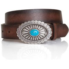 "Ariat Women's 1 1/2"" Oval Turquoise Buckle Belt Brown (1.615 RUB) ❤ liked on Polyvore featuring accessories, belts, brown belt, ariat and ariat belt"
