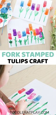 Fork Stamped Tulips Craft - Toddler at Play