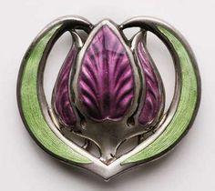 Joseph Maria Auchentaller, Tulip Brooch, enameled silver