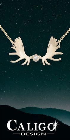 Moose Antler Pendant Necklace Gold - Yellow Gold Moose Antler with Diamond - Moose Jewelry Antler Necklace, Gold Pendant Necklace, Moose Antlers, Wild Life, Gold Jewelry, Handmade Jewelry, Yellow, Diamond, Handmade Jewellery