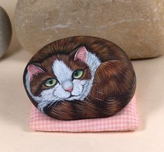 Bella stone kitty hand painted on rock  RESERVED by Livingrocks, €25.00