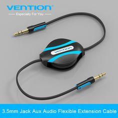 Vention retrattile aux cavo da 3.5mm maschio a maschio jack cavo audio ausiliario stereo per iphone 6 auto sumsung mp3 mp4