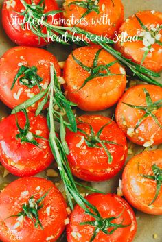 Stuffed Tomatoes with Pearl Couscous Salad - Lace and Coco