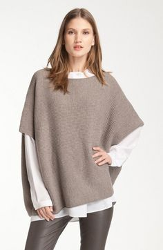 Vince Rib Knit Cashmere and Wool Poncho/Cape Size 10 (M) Kids Poncho, Ladies Poncho, Poncho Tops, Cashmere Poncho, Wool Poncho, Cashmere Wool, Poncho Sweater, Knitted Capelet, Moda Outfits