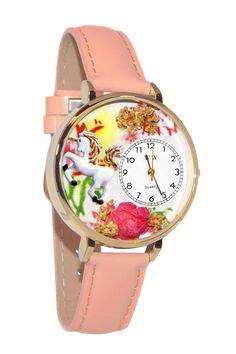 Unicorn Pink Leather And Goldtone Watch
