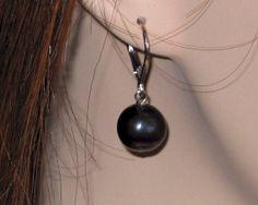 Black Pearl drop earrings, pearl dangle Earrings, Freshwater pearl earrings, with Solid Sterling Silver lever back via Etsy