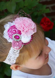 PINK Princess Aurora Sleeping beauty Inspired Shabby Chic Vintage Rolled Fabric Rosette Headband/Photo Prop