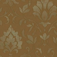 SIS40621 Brown Sapphire Damask Wallpaper - Oasis by Chesapeake