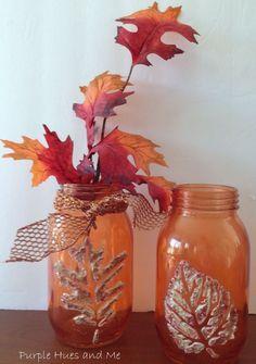 Stenciled Dimensional Leaf Mason Jars