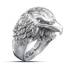 Stainless Steel American Eagle Men's Ring With Black Sapphires