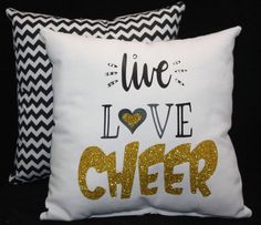 Rhinestone Glitter LIVE LOVE CHEER Pillow cheerleader decor Perfect Sports Recognition Team / Squad Gift - Team Discounts available Cheer Sister Gifts, Cheer Coach Gifts, Cheer Coaches, Cheerleading Gifts, Cheer Gifts, Cheer Mom, Cheer Stunts, Cheer Bags, Cheer Jumps