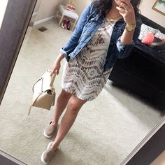ikat dress + jean jacket {casual spring outfit}