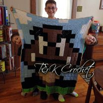 From T&K Crochet on Storenvy. Crochet 8 bit goomba throw