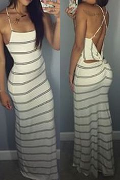 Sexy Spaghetti Strap Backless Striped Maxi Dress For Women