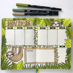 katykatehadfield This week's Bujo spread, #beforethepen. Inspired both by the return of my FAVOURITE guilty pleasure TV show (I'm A Celebrity, Get Me Out Of Here!) and a question from a friend about drawing sloths! Although there may not be *too* many sloths in the Aussie rainforest, they can hang out there in my planner this week <insert sloth emoji here>
