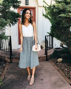 typically not much of a skirt girl, but the stripes and pockets on this one sold me! today's outfit for church and brunch on this… Komplette Outfits, Spring Outfits, Casual Outfits, Fashion Outfits, Womens Fashion, Fashion Trends, Autumn Outfits, Fashion Ideas, Polyvore Outfits