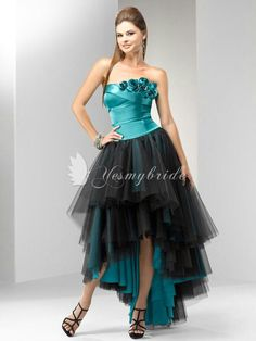 c3c1a9bd79 Strapless Turquoise and Black Tulle Dress For Short Front Long Back Prom  Dress