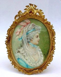 collectible antique miniature portraits | Antique French Miniature Portrait Painted on Ivory Ornate Gilt Bronze ...