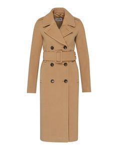 Langer Mantel mit doppelter Knopfleiste von Edited the Label @aboutyoude . Eingrifftaschen auf der Front, ein fallendes Revers, der Textilgürtel mit Schnalle und die Schulterpasse prägen das klassische Design des Mantels.