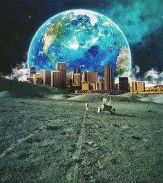 The Parallel City. Surreal Mixed Media Collage Art By Ayham Jabr.