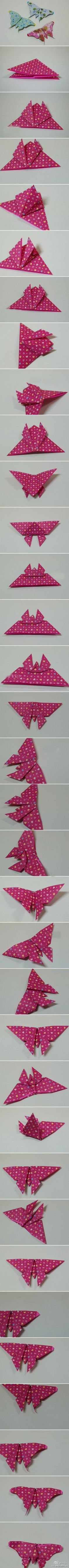 Handmade DIY origami butterfly tutorial - embellishment for cards - bjl Diy Origami, Origami And Kirigami, Origami Butterfly, Paper Crafts Origami, Origami Tutorial, Diy Paper, Paper Crafting, Paper Art, Butterfly Kids