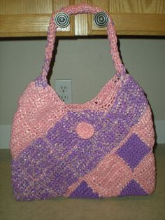 Purse - Bag - Plarn - Pink and Purple - Crochet