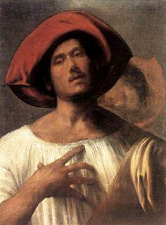 """Giorgione (1477-1510), Venice. """"The Impassioned Singer,"""" c. 1510. Oil on canvas, 102 x 78 cm. Galleria Borghese, Rome."""