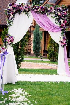 Colorful lavender purple wedding colors for wedding reception arch backdrop canopy from CV Linens. Click to shop our affordable high quality lavender drapes for as low as $12.99 also available in 14 other wedding colors. #weddingceremonyideas #weddingceremony #weddingceremonydecorations #weddingceremonybackddrop #weddingceremonydecor Wedding Arbor Decorations, Outdoor Wedding Backdrops, Wedding Reception Backdrop, Lavender Wedding Theme, Purple Wedding, Spring Wedding, Outdoor Wedding Inspiration, Wedding Ideas, Wedding Color Schemes