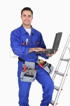 Tradesman posing with his tools photo