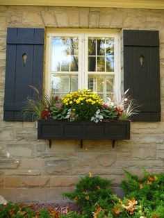 Fall window box planted with mums, coleus, kale, ornamental grass (source…