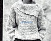 womens knitting pattern womens aran sweater pattern ladies aran jumper button collar - 32-40 inch aran knitting pattern pdf instant download