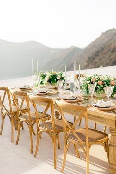 Santorini Island Wedding Overlooking The Caldera Wedding Cake Roses, Wedding Table Flowers, Wedding Table Settings, Rose Wedding, Dream Wedding, Santorini Wedding Venue, Greece Wedding, Wedding Tips, Wedding Styles