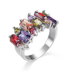 Fashion Multicolor Diamonique Cz White Gold Filled Wedding Engagement Band Ring