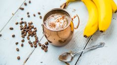 Used to starting your day with just a cup a coffee? Give your morning an upgrade with a banana latte coffee smoothie… Coffee Protein Smoothie, Smoothie Drinks, Protein Smoothies, Green Smoothies, Banana Coffee, Iced Coffee, Coffee Time, Sunday Coffee, Cozy Coffee