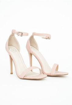 Kylie Cut Out Heeled Sandals Blush Satin - High Heels - Missguided ...