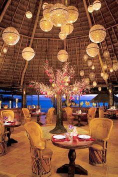 El Patio Mexican restaurant at Dreams Puerto Aventuras Resort & Spa, Mexico Luxury Restaurant, Restaurant Design, Roof Design, House Design, Dreams Puerto Aventuras, Bar Deco, Dreams Resorts, Bamboo House, Cafe Bar