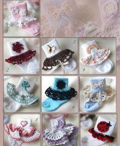 Dainty Sock Trims II - 10 trims and 10 applique patterns Crochet Socks, Crochet Bebe, Crochet Baby Booties, Crochet Trim, Crochet For Kids, Baby Socks, Girls Socks, Crochet Patterns For Beginners, Applique Patterns