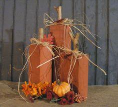 Wood pumpkins. Seasonal halloween Decor Handmade distressed reclaimed wood set of 3 by GFTWoodcraft on Etsy