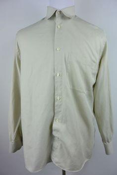 Principe Italy 41 16 34/35 Beige Cotton Button Front Dress Shirt #675 #Principe