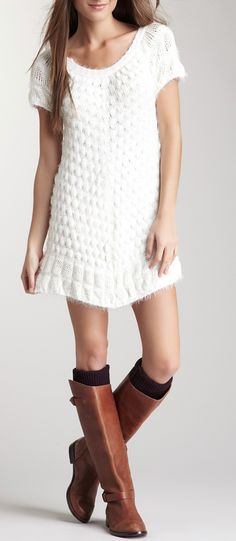 cozy dress + high boots