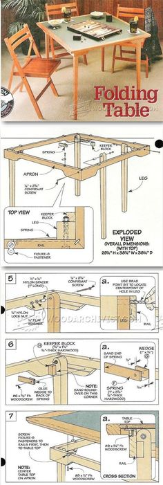 Folding Table Plans - Furniture Plans and Projects | WoodArchivist.comhttp://woodarchivist.com/2209-folding-table-plans/