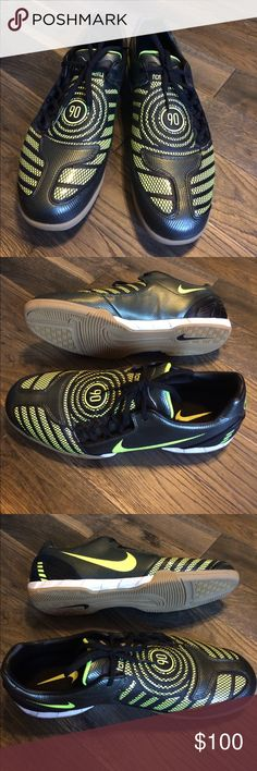 Nike Total 90 Indoor Soccer Kicks EUC--wound up not being used--Nike Total 90 indoor soccer shoes. Black with neon green. Clean inside & out. Cool enough that you don't need to play soccer to wear them--just wear them as an everyday great Nike kick! Nike Shoes