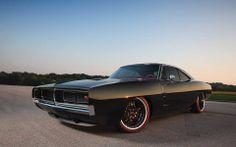 Custom 1969 Charger, Matte Black paint job; #americanmusclecars #mopar #charger #matteblack #automobiles