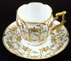 Sweet Sevres Style Demitasse Cup & Saucer, pre 1900